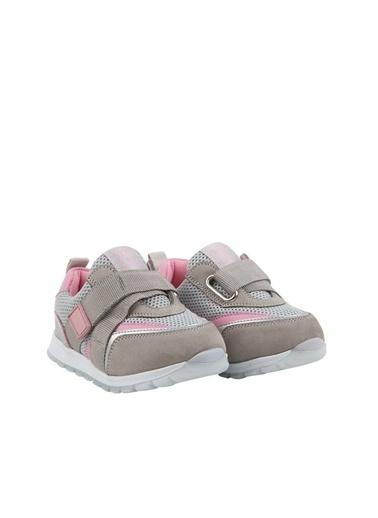 Kids A More Jasper Tek Cırtlı Lastikli Deri Ve Air File Detaylı Kız Çocuk Sneaker Gri-Pembe Gri